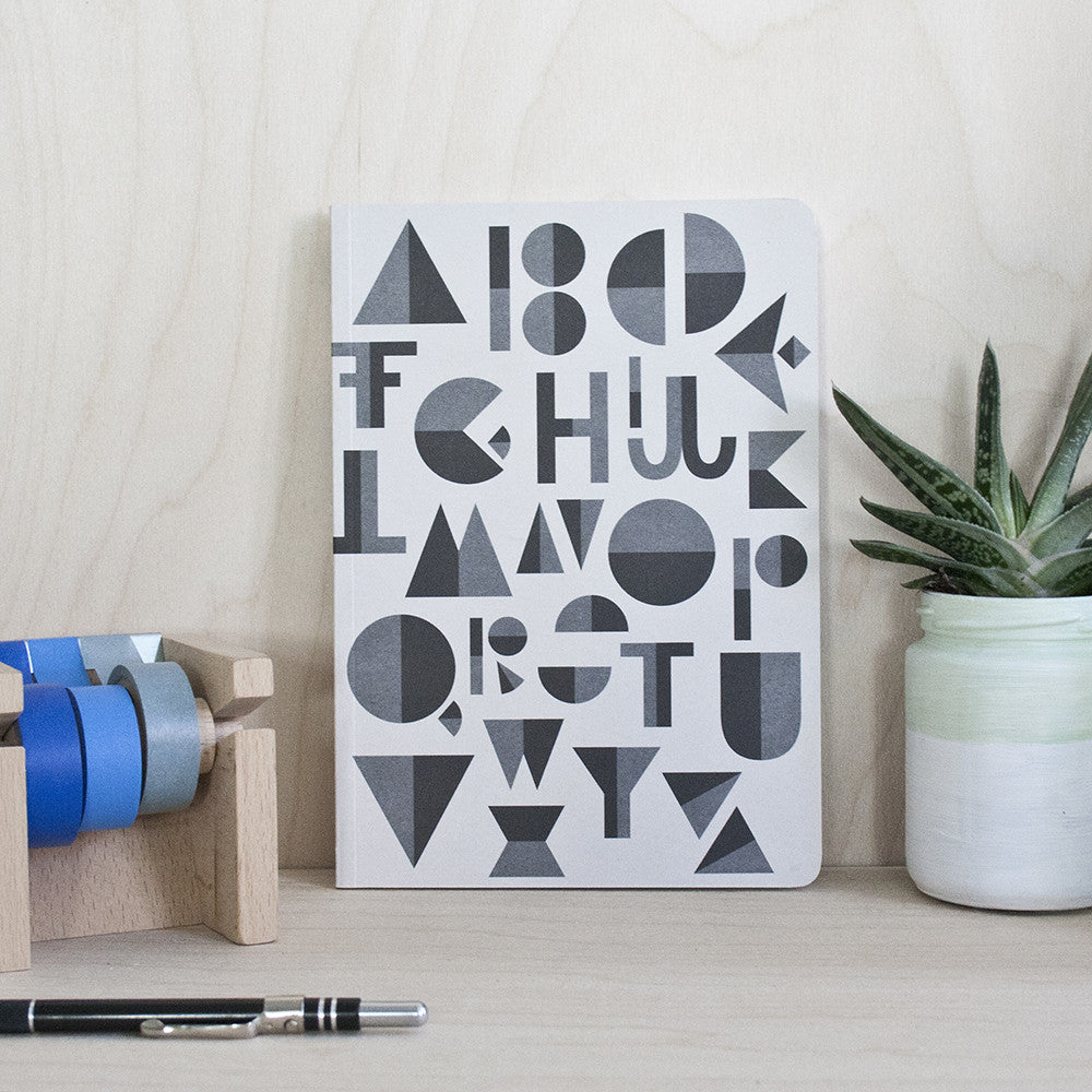 Alphabet Black/Grey Notebook