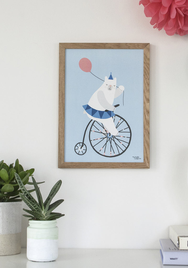 Cycling Bear A4 blue - poster