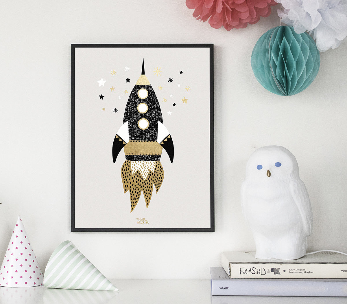 Gold Space Ship - poster