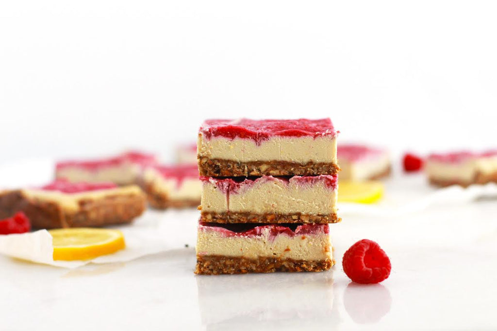 Raw Raspberry Lemon Cheesecake Bars
