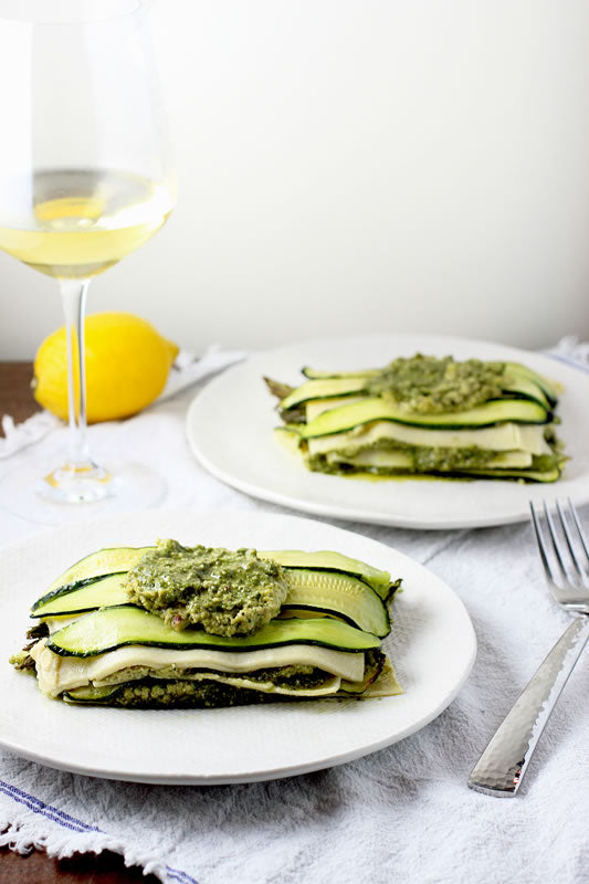 Zucchini Lasagna with Pea Cashew Cheese + Ramp Hemp Pesto
