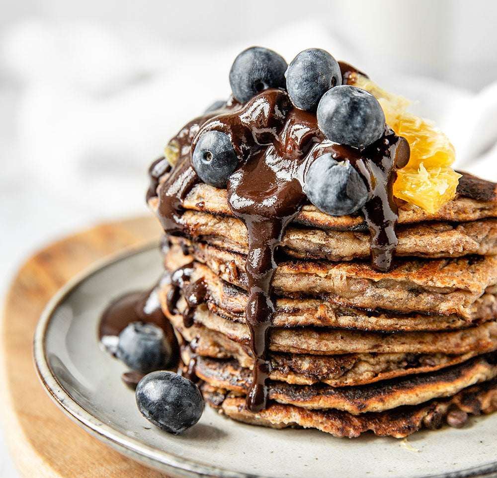 Vegan Banana Chocolate Chip Pancakes