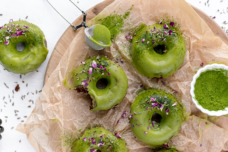 Chocolate Lavender Matcha Donuts