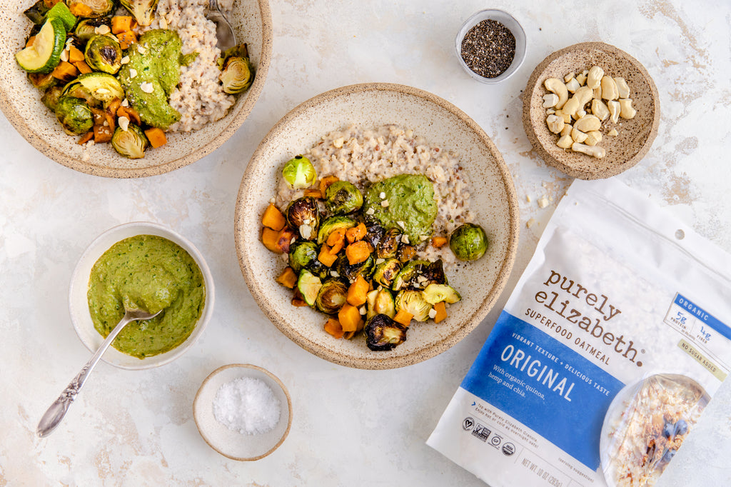 Veggie Superfood Oats with Cashew Pesto