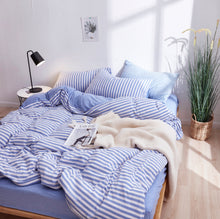 Load image into Gallery viewer, Reversible Jersey Cotton Bedding Bundle - Blue & White Stripes (4-in-1)