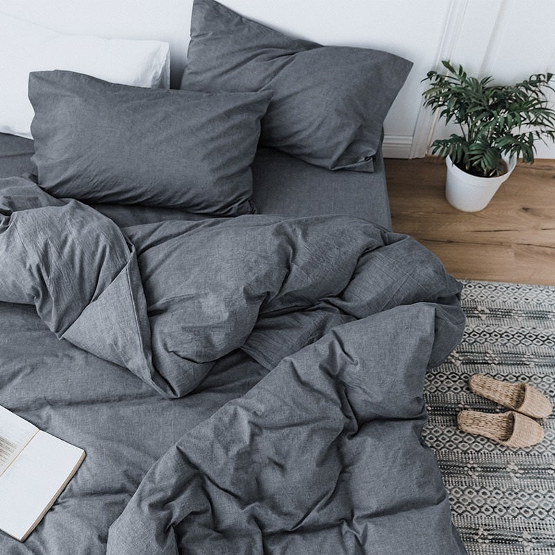 4-Piece 100% Combed-Cotton Bedding Bundle -Charcoal (Double)