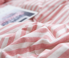 Load image into Gallery viewer, Reversible All-in-One Jersey Cotton Bedding Bundle - Pink & White Stripes