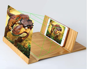 3D Phone Screen Magnifying Glass (12 Inch with Foldable wood frame bracket stand) - Wonder-mart.com