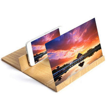 Load image into Gallery viewer, 3D Phone Screen Magnifying Glass (12 Inch with Foldable wood frame bracket stand) - Wonder-mart.com