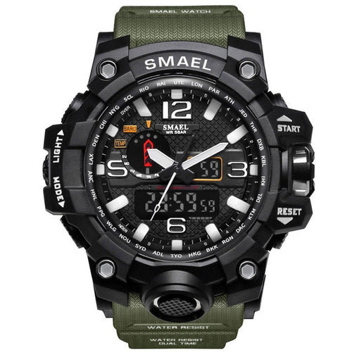 SMAEL Men's Sports Analog Digital Quartz Military 50m Waterproof LED Sports Watch - Wonder-mart.com