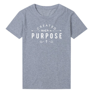 Created with A Purpose Cross Sleeve T-Shirt