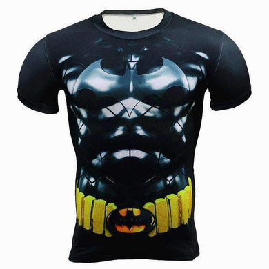 Classic Batman Superhero Short-Sleeve Compression T-Shirt