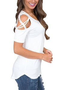 Color cotton casual worn hole shoulder tie T-shirt woman