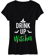 Load image into Gallery viewer, DRINK UP WITCHES Halloween Shirt with Green