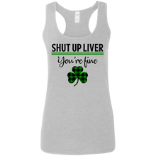 Load image into Gallery viewer, Shut Up Liver, St. Patrick's Day Ladies' Softstyle Racerback Tank