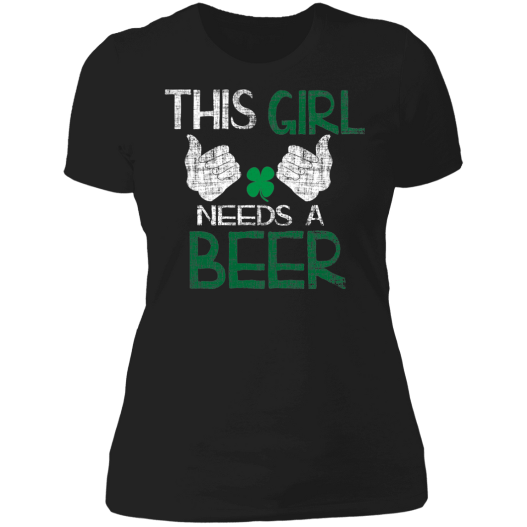 This Girl Needs A Beer, St. Patrick's Day Ladies' Boyfriend T-Shirt