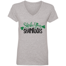 Load image into Gallery viewer, Shake your Shamrocks, St. Patrick's Day Ladies' V-Neck T-Shirt