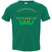 Load image into Gallery viewer, Quick as a Leprechaun Toddler Jersey T-Shirt. St. Patrick's Day