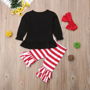 Kids Baby Girls Christmas Shirt Top Stripes Pants