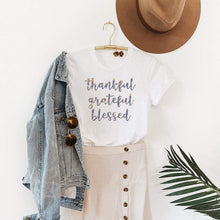 Load image into Gallery viewer, Thankful Grateful Blessed Graphic T-Shirt