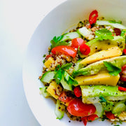 Mango and avocado mixed with a tricolour quinoa, cucumber, spring onions and fresh chopped mixed herbs. A fresh, healthy and tasty recipe created for all vegans and green lovers.