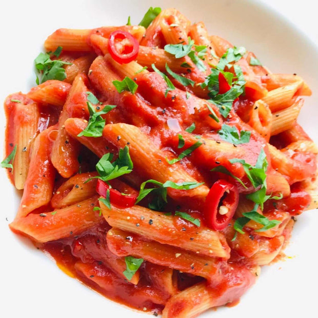 penne arrabbiata spicy tomato sauce garlic, traditional Italian recipe from Rome