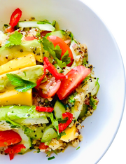 Tropical quinoa, mango & avocado vegan salad