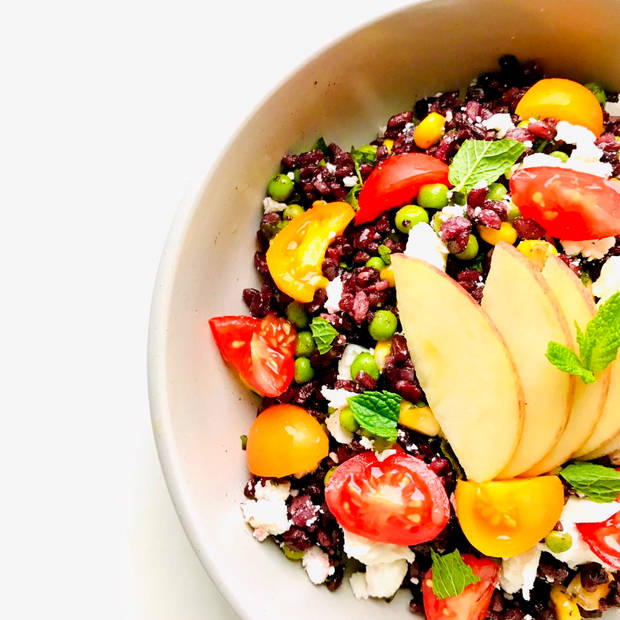Venere black rice salad with cheese, apple & greens
