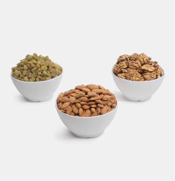 Premium Combo Pack of Ghorbandi Almonds, Green Raisin And Walnut