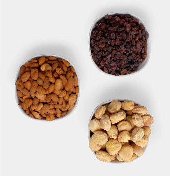Premium Combo Pack of Ghorbandi Almonds, Red Raisin And Dry Apricot