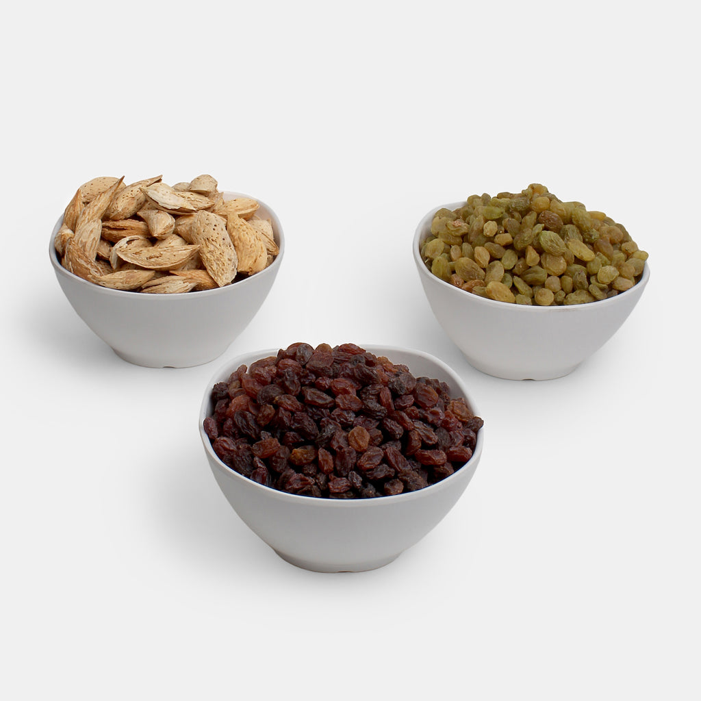 Premium Combo Pack of Kaghazi Almond, Red Raisin And Green Raisin