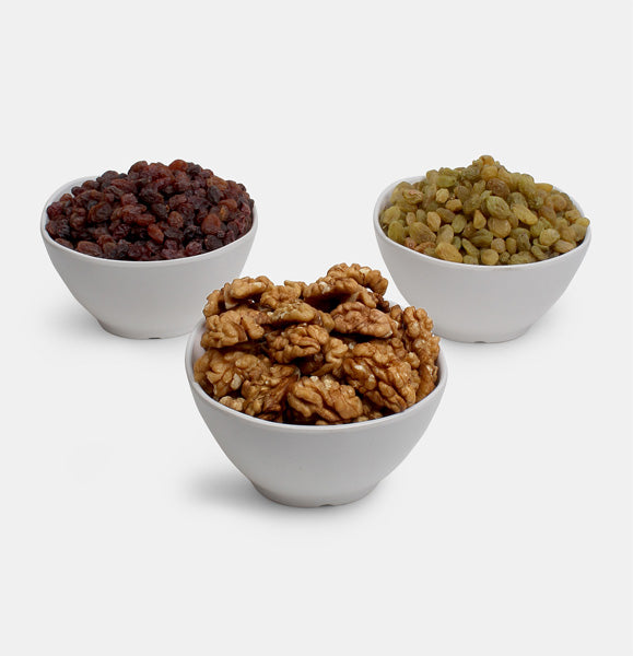 Premium Combo Pack of Walnut, Red Raisin And Green Raisin
