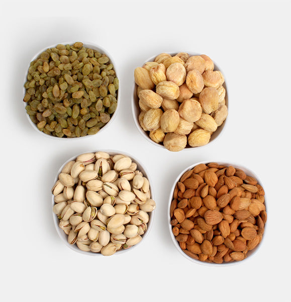 Premium Golden Pack of Ghorbandi Almonds, Green Raisin, Pista And Dry Apricot