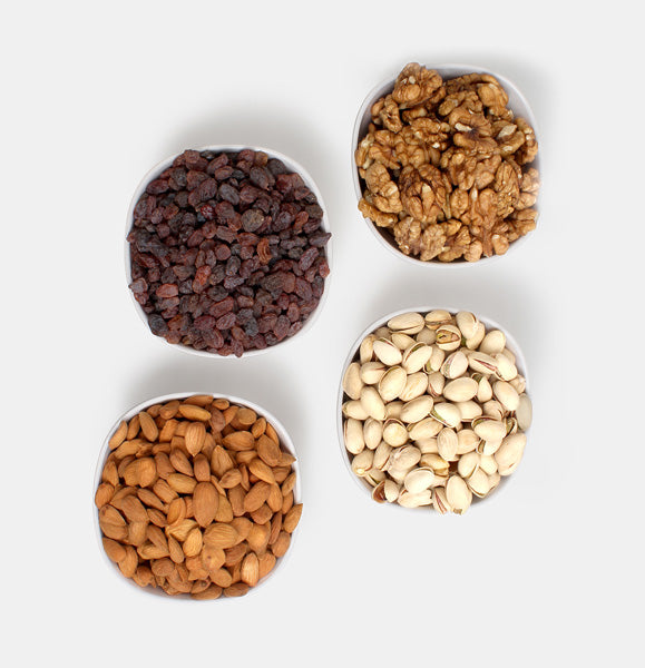 Premium Golden Pack of Ghorbandi Almonds, Red Raisin, Pista And Walnut