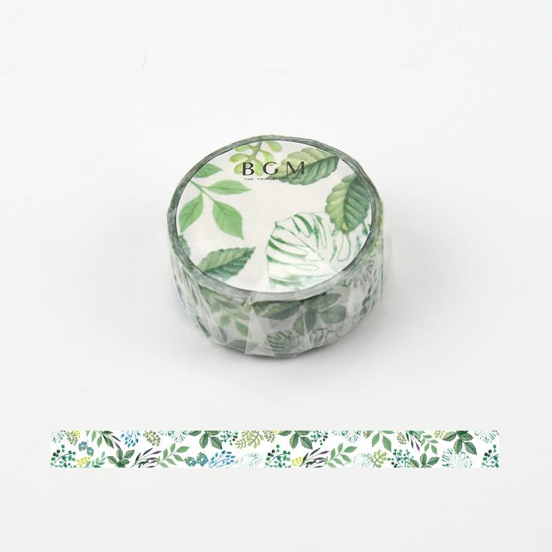BGM Green Leaves Botanical Washi Tape - Leaf Life - shop Stationery & Gifts store online