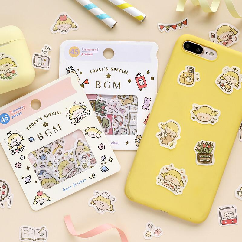 BGM Gold Foil Flake Stickers - Everyday Daily Things Sticker Pack - shop Stationery & Gifts store online