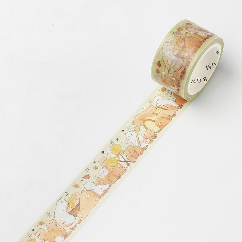 BGM Animal Party Themed Gold Foil Washi Tape - Honey - shop Stationery & Gifts store online