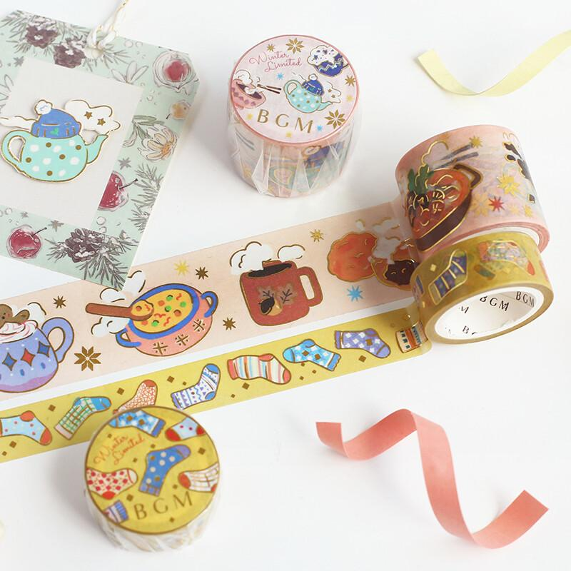 BGM Cozy Winter Gold Foil Washi Tape - Warm Foods - shop Stationery & Gifts store online