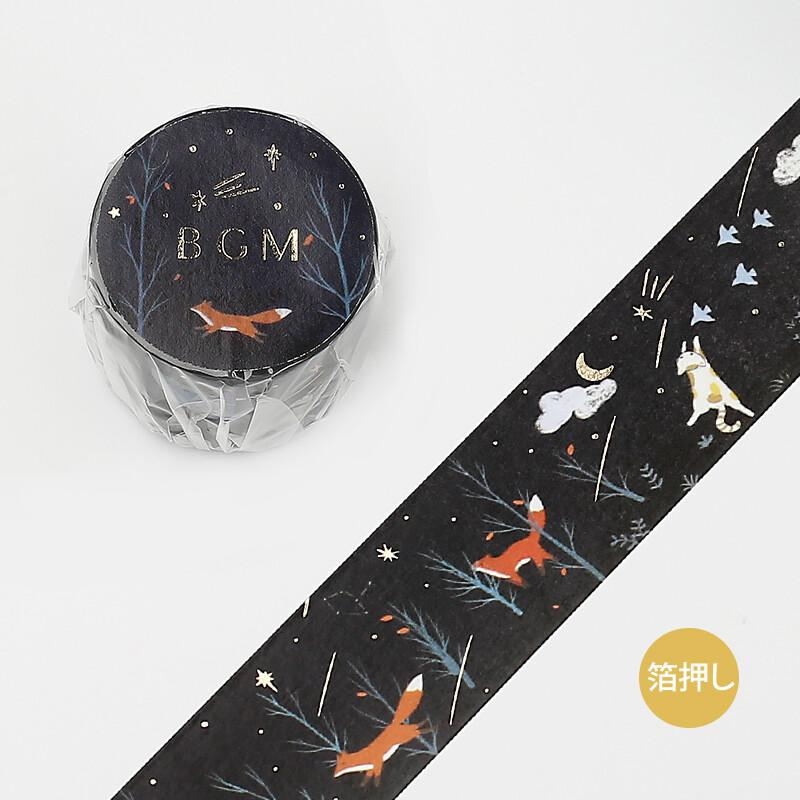 BGM Cute Animal Little Fox Gold Foil Washi Tape - Shooting Star Night - shop Stationery & Gifts store online