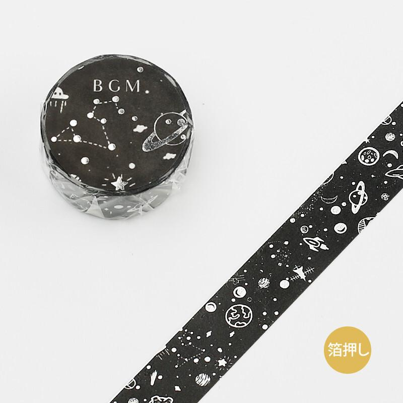 BGM Silver Foil Black Washi Tape - Forever Night - shop Stationery & Gifts store online
