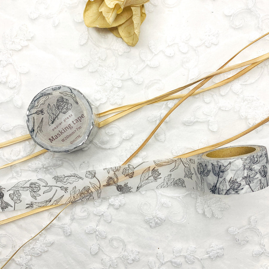 Papier Platz x HUTTE Botanical Plant Sketch Washi Tape Masking Tape - shop Stationery & Gifts store online