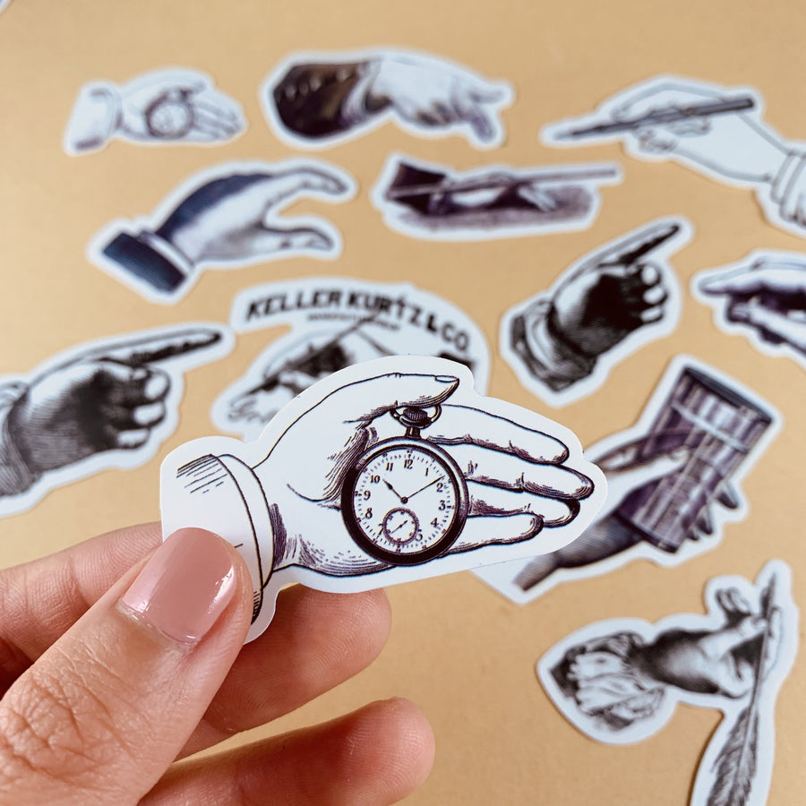 Vintage Black And White Hand Sticker Set 22 Sheets - shop Stationery & Gifts store online