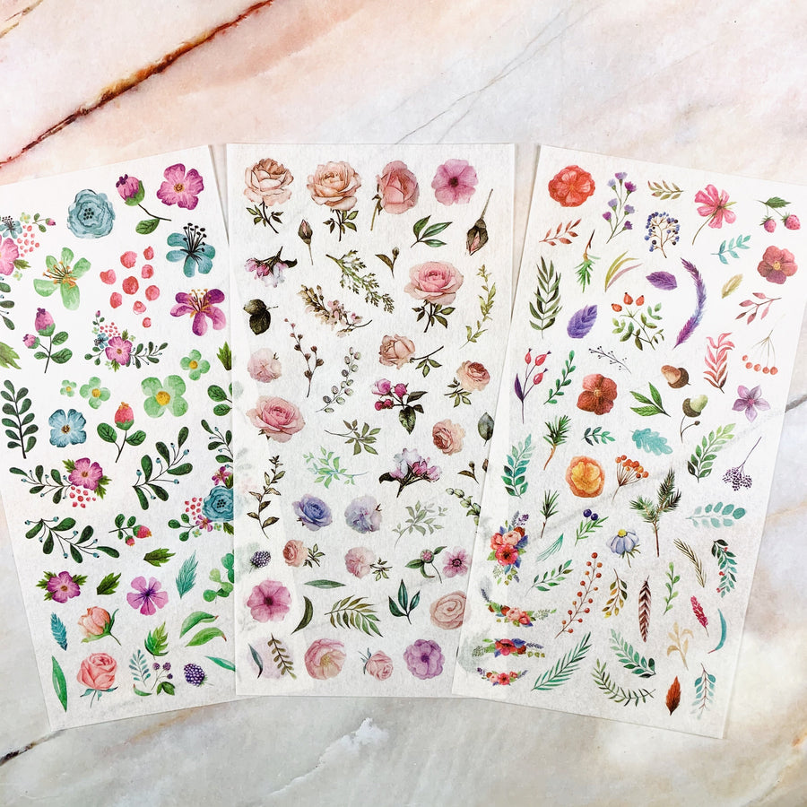 The Ultimate Die-Cut Watercolor Floral Sticker Sheets | Translucent Plant Sticker Sheets - shop Stationery & Gifts store online