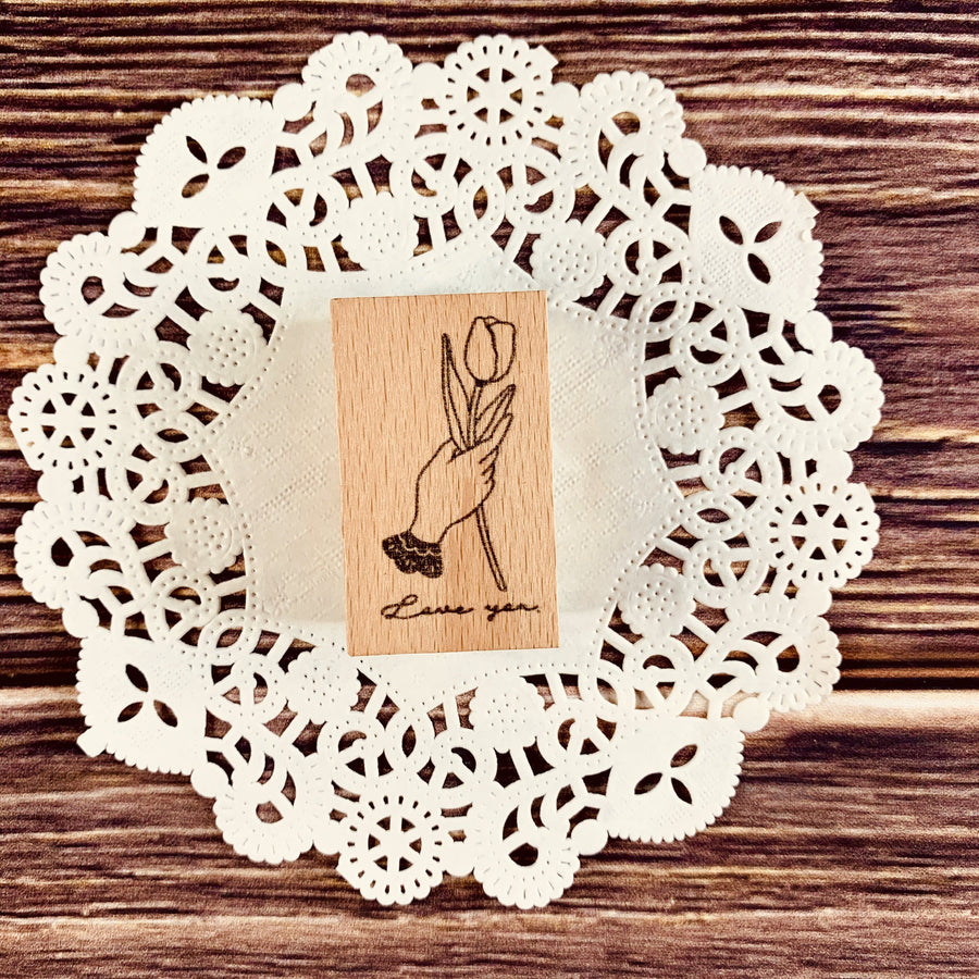 Love You Rubber Stamp | Tulip Rubber Stamp - shop Stationery & Gifts store online