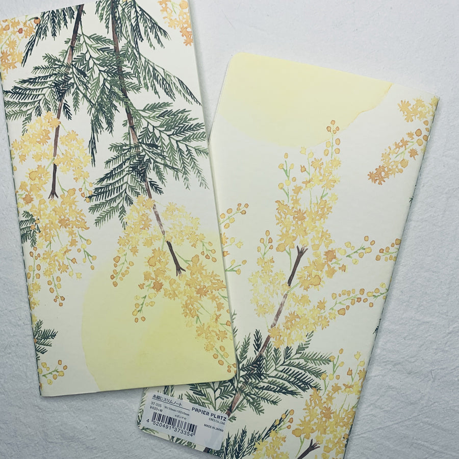 PAPIER PLAT X Yumi Imai Ponte Fabric Floral Slim Notebook - Grid Notebook - shop Stationery & Gifts store online
