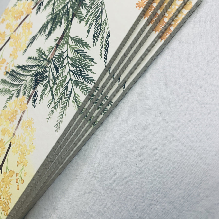 Papier Platz X Yumi Imai Ponte Fabric Floral Slim Notebook - Grid Notebook - shop Stationery & Gifts store online