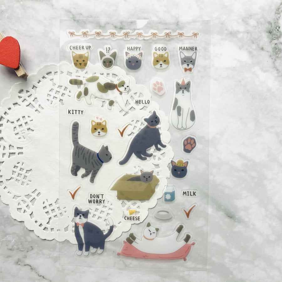 Dailylike Cute Kitty Clear Sticker Sheet | Korean Deco Sticker - shop Stationery & Gifts store online