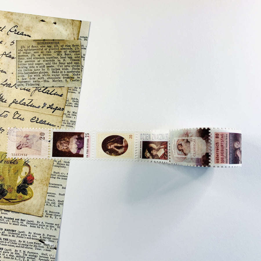 Perforated Vintage Postage Stamp Washi Tape - shop Stationery & Gifts store online