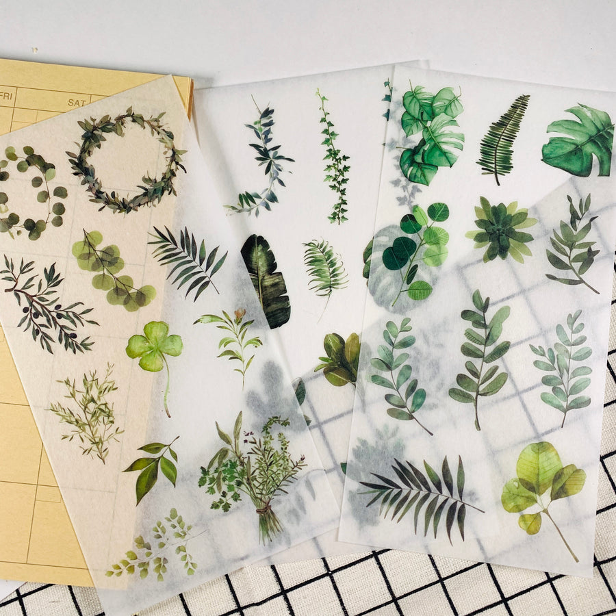 Precut Watercolor Eucalyptus Botanical Plant Translucent Sticker Sheets 3 Sheets - shop Stationery & Gifts store online