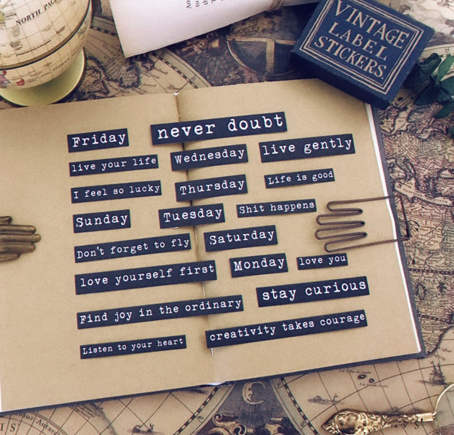 Vintage Life Quote Inspirational Quote Stickers Typewriter Style - shop Stationery & Gifts store online